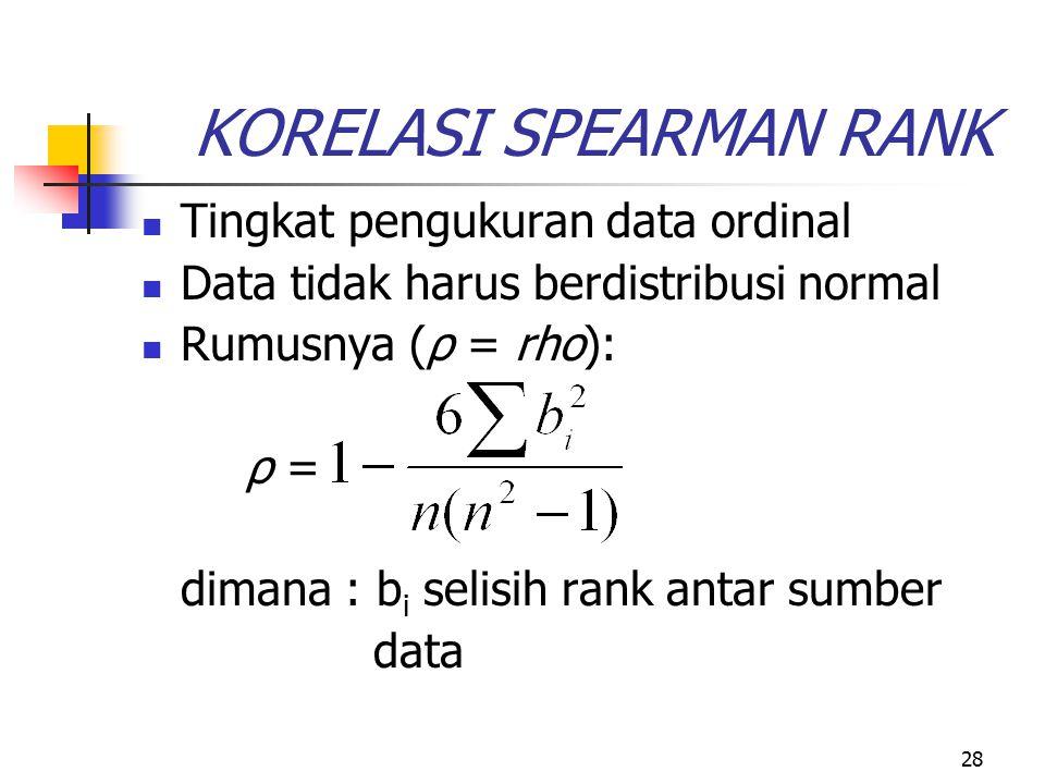 28 KORELASI SPEARMAN RANK Tingkat pengukuran data ordinal Data tidak harus berdistribusi normal Rumusnya (ρ = rho): ρ = dimana : b i selisih rank anta