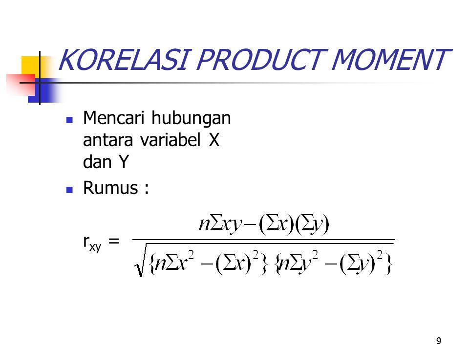 9 KORELASI PRODUCT MOMENT Mencari hubungan antara variabel X dan Y Rumus : r xy =