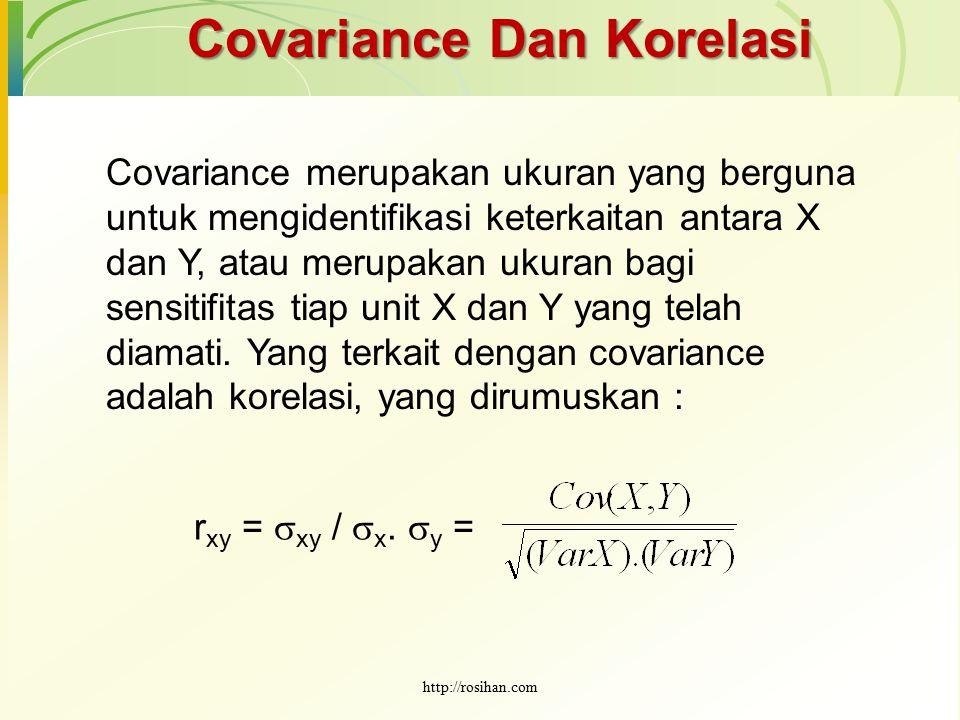 Covariance Dan Korelasi Covariance merupakan ukuran yang berguna untuk mengidentifikasi keterkaitan antara X dan Y, atau merupakan ukuran bagi sensiti