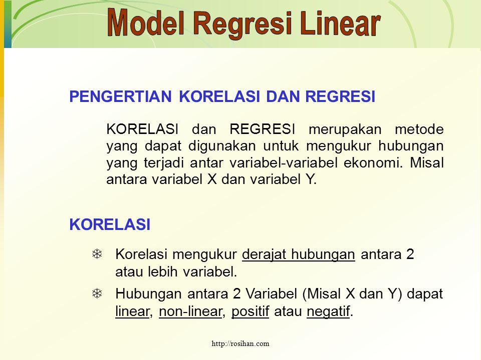 PENGERTIAN KORELASI DAN REGRESI KORELASI dan REGRESI merupakan metode yang dapat digunakan untuk mengukur hubungan yang terjadi antar variabel-variabe