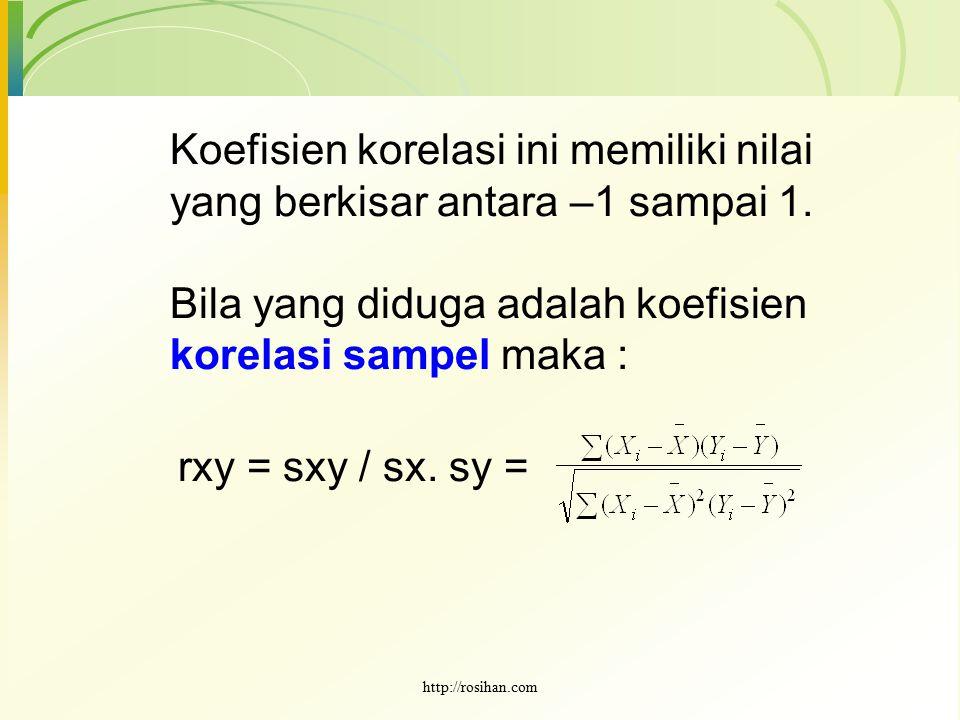 Koefisien korelasi ini memiliki nilai yang berkisar antara –1 sampai 1. Bila yang diduga adalah koefisien korelasi sampel maka : rxy = sxy / sx. sy =