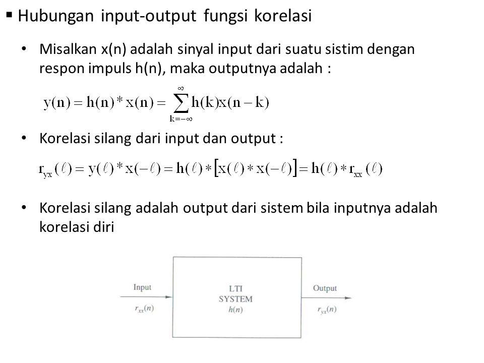  Hubungan input-output fungsi korelasi Misalkan x(n) adalah sinyal input dari suatu sistim dengan respon impuls h(n), maka outputnya adalah : Korelas