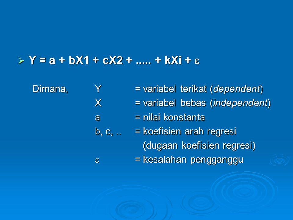  Y = a + bX1 + cX2 +..... + kXi +  Dimana,Y= variabel terikat (dependent) X = variabel bebas (independent) a= nilai konstanta b, c,..= koefisien ara