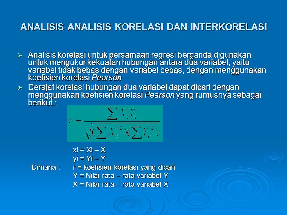 ANALISIS ANALISIS KORELASI DAN INTERKORELASI  Analisis korelasi untuk persamaan regresi berganda digunakan untuk mengukur kekuatan hubungan antara du