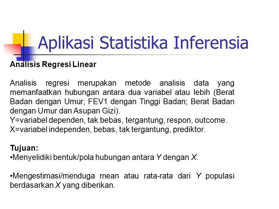 Aplikasi Statistika Inferensia Analisis Regresi Linear Analisis regresi merupakan metode analisis data yang memanfaatkan hubungan antara dua variabel atau lebih (Berat Badan dengan Umur; FEV1 dengan Tinggi Badan; Berat Badan dengan Umur dan Asupan Gizi).