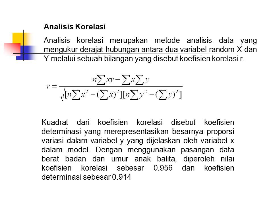 Analisis Korelasi Analisis korelasi merupakan metode analisis data yang mengukur derajat hubungan antara dua variabel random X dan Y melalui sebuah bilangan yang disebut koefisien korelasi r.