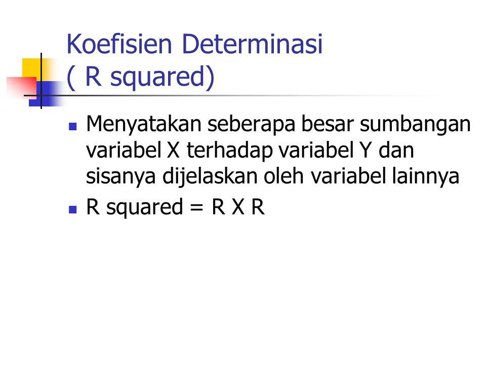 Koefisien Determinasi ( R squared) Menyatakan seberapa besar sumbangan variabel X terhadap variabel Y dan sisanya dijelaskan oleh variabel lainnya R squared = R X R