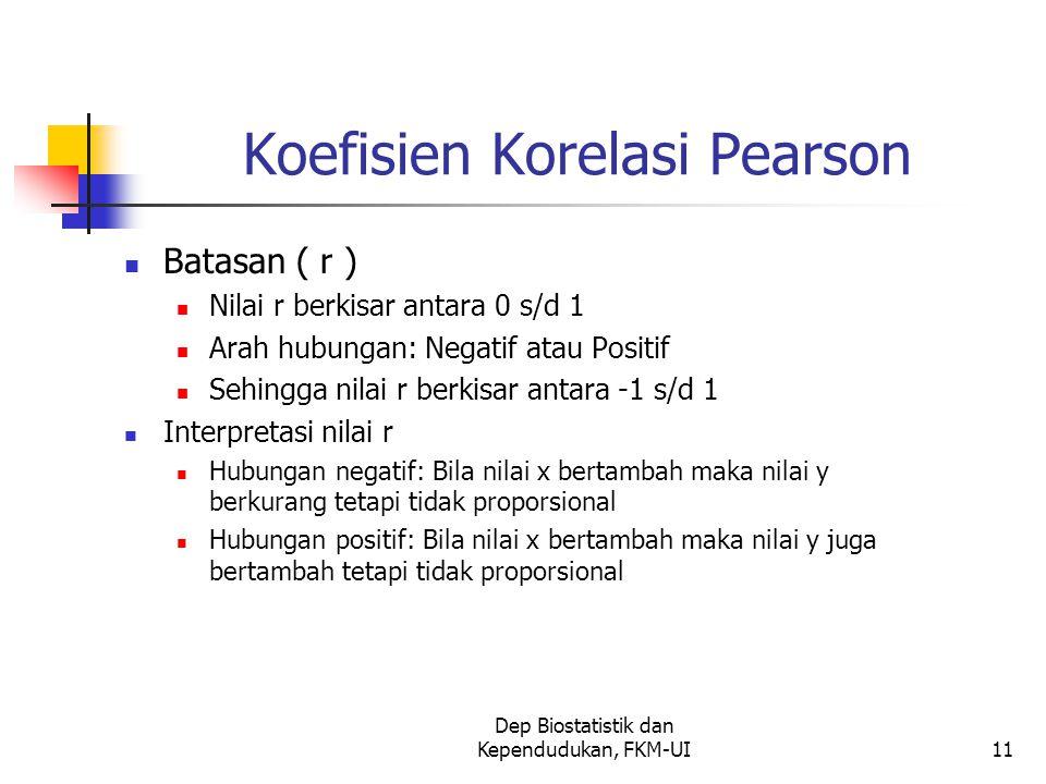 Dep Biostatistik dan Kependudukan, FKM-UI11 Koefisien Korelasi Pearson Batasan ( r ) Nilai r berkisar antara 0 s/d 1 Arah hubungan: Negatif atau Posit