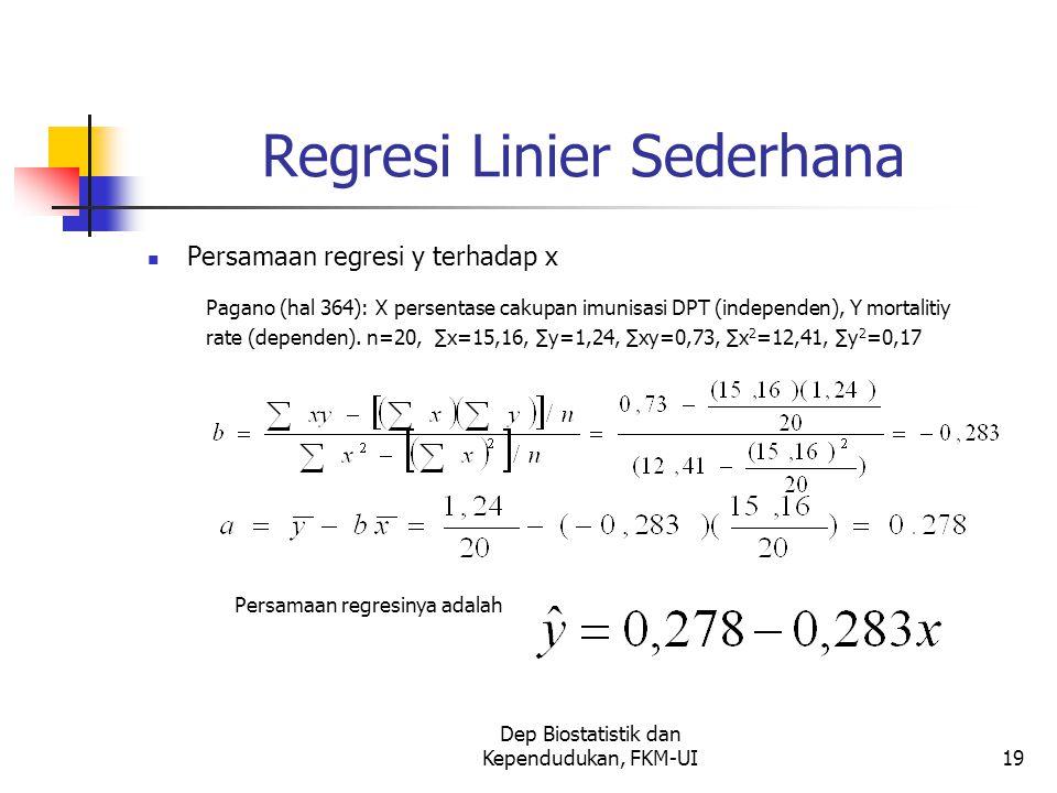 Dep Biostatistik dan Kependudukan, FKM-UI19 Regresi Linier Sederhana Persamaan regresi y terhadap x Pagano (hal 364): X persentase cakupan imunisasi DPT (independen), Y mortalitiy rate (dependen).