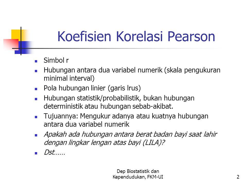 Dep Biostatistik dan Kependudukan, FKM-UI2 Koefisien Korelasi Pearson Simbol r Hubungan antara dua variabel numerik (skala pengukuran minimal interval