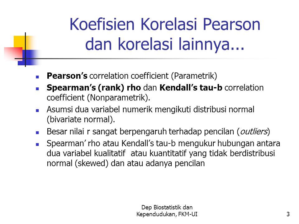Dep Biostatistik dan Kependudukan, FKM-UI3 Koefisien Korelasi Pearson dan korelasi lainnya... Pearson's correlation coefficient (Parametrik) Spearman'