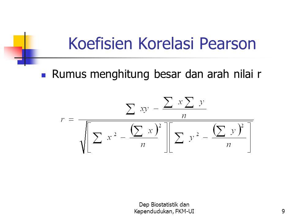 Dep Biostatistik dan Kependudukan, FKM-UI9 Koefisien Korelasi Pearson Rumus menghitung besar dan arah nilai r