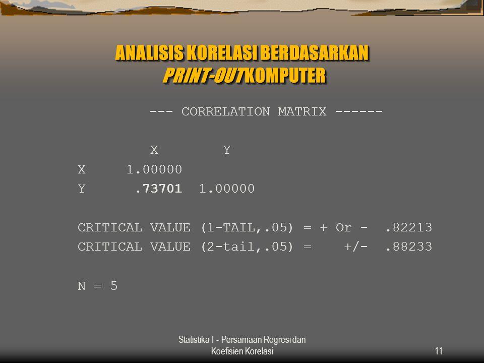Statistika I - Persamaan Regresi dan Koefisien Korelasi11 ANALISIS KORELASI BERDASARKAN PRINT-OUT KOMPUTER --- CORRELATION MATRIX ------ X Y X 1.00000