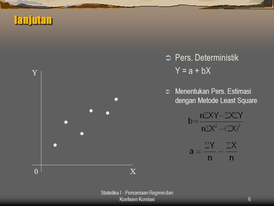 Statistika I - Persamaan Regresi dan Koefisien Korelasi6 lanjutanlanjutan  Pers. Deterministik Y = a + bX  Menentukan Pers. Estimasi dengan Metode L