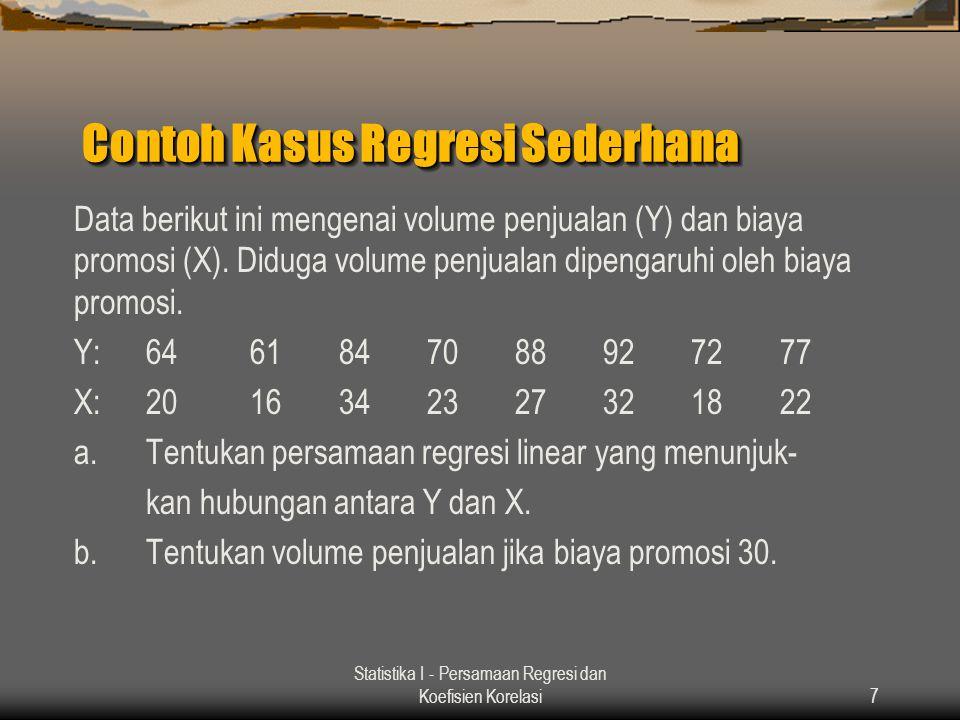 Statistika I - Persamaan Regresi dan Koefisien Korelasi7 Contoh Kasus Regresi Sederhana Data berikut ini mengenai volume penjualan (Y) dan biaya promo