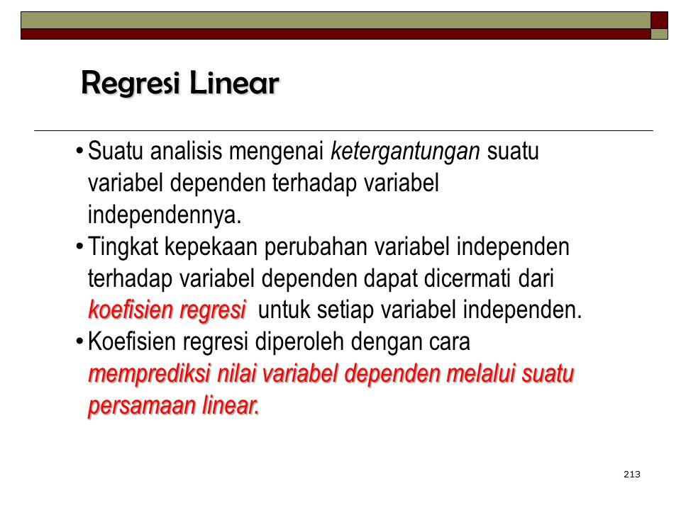 213 Suatu analisis mengenai ketergantungan suatu variabel dependen terhadap variabel independennya. koefisien regresi Tingkat kepekaan perubahan varia