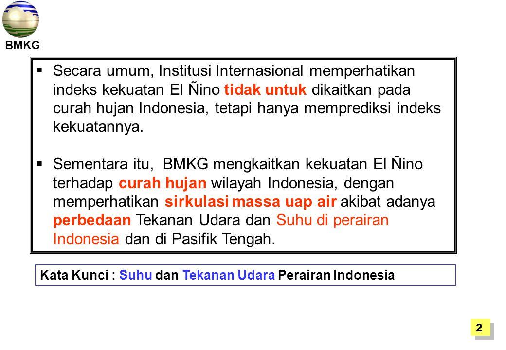  Secara umum, Institusi Internasional memperhatikan indeks kekuatan El Ñino tidak untuk dikaitkan pada curah hujan Indonesia, tetapi hanya memprediks