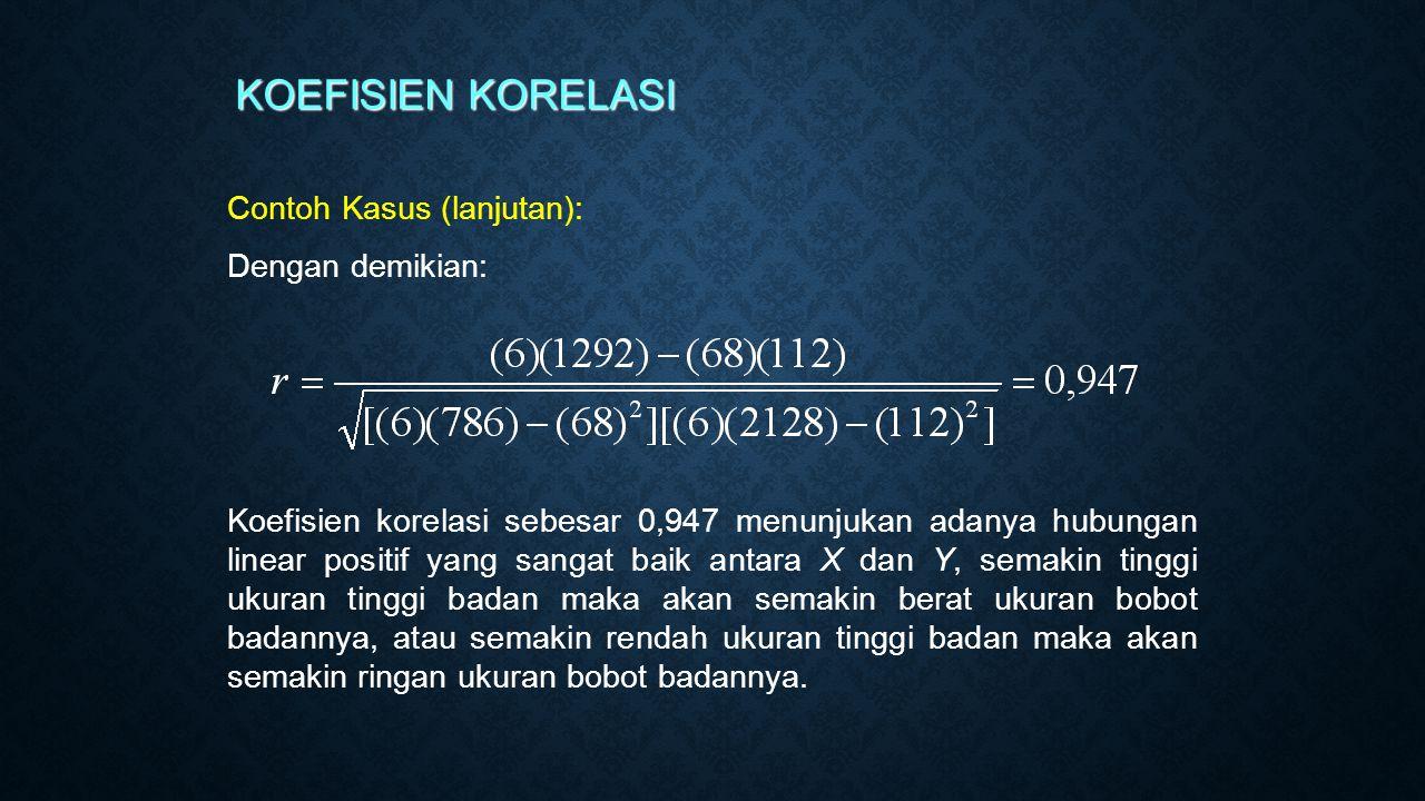 Contoh Kasus (lanjutan): Dengan demikian: KOEFISIEN KORELASI Koefisien korelasi sebesar 0,947 menunjukan adanya hubungan linear positif yang sangat ba