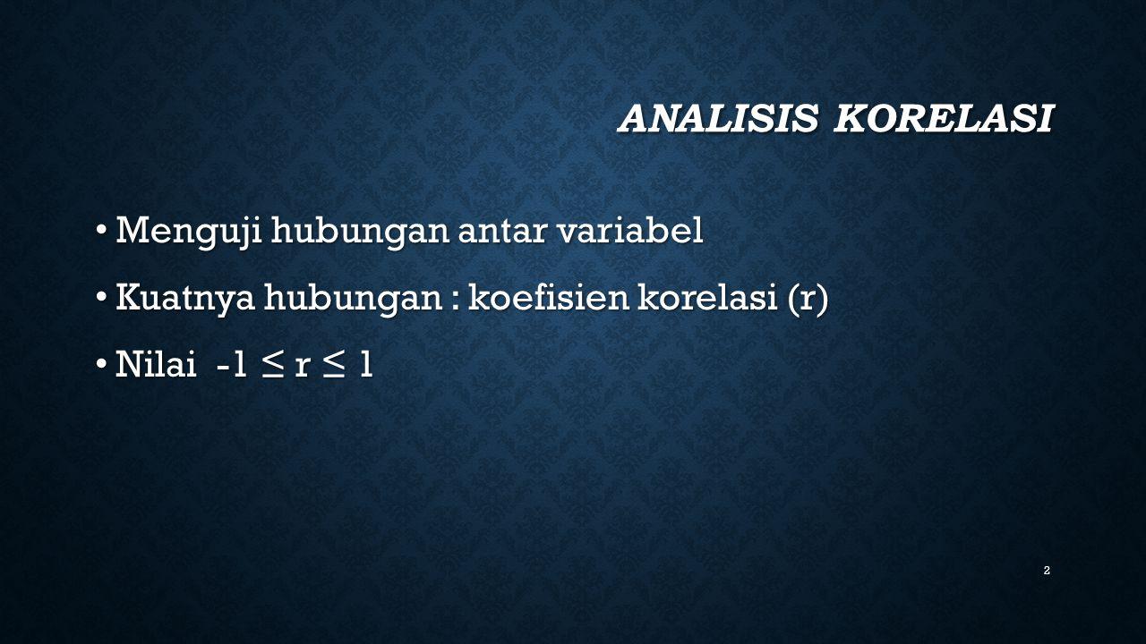 2 ANALISIS KORELASI Menguji hubungan antar variabel Menguji hubungan antar variabel Kuatnya hubungan : koefisien korelasi (r) Kuatnya hubungan : koefi