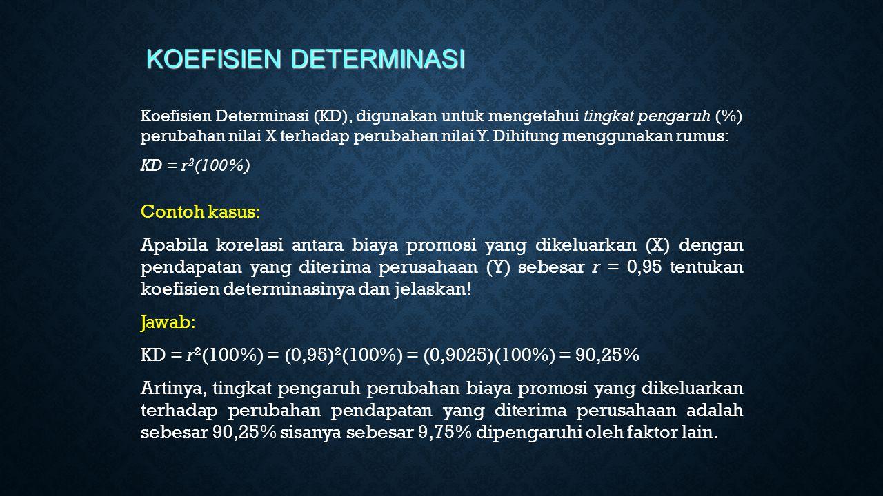 Koefisien Determinasi (KD), digunakan untuk mengetahui tingkat pengaruh (%) perubahan nilai X terhadap perubahan nilai Y. Dihitung menggunakan rumus: