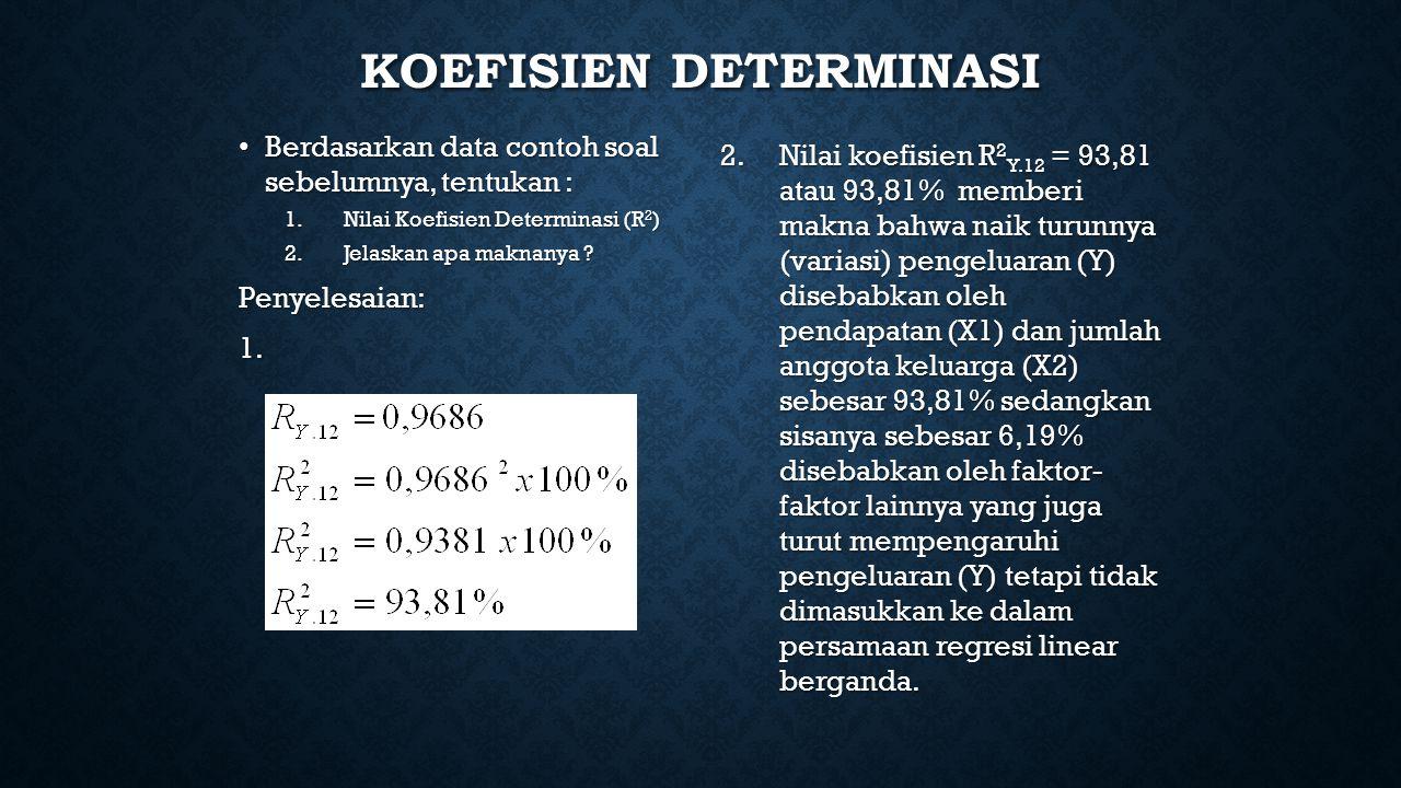 KOEFISIEN DETERMINASI Berdasarkan data contoh soal sebelumnya, tentukan : Berdasarkan data contoh soal sebelumnya, tentukan : 1.Nilai Koefisien Determinasi (R 2 ) 2.Jelaskan apa maknanya .
