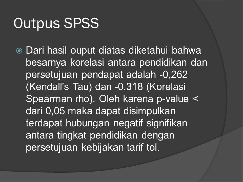 Outpus SPSS  Dari hasil ouput diatas diketahui bahwa besarnya korelasi antara pendidikan dan persetujuan pendapat adalah -0,262 (Kendall's Tau) dan -