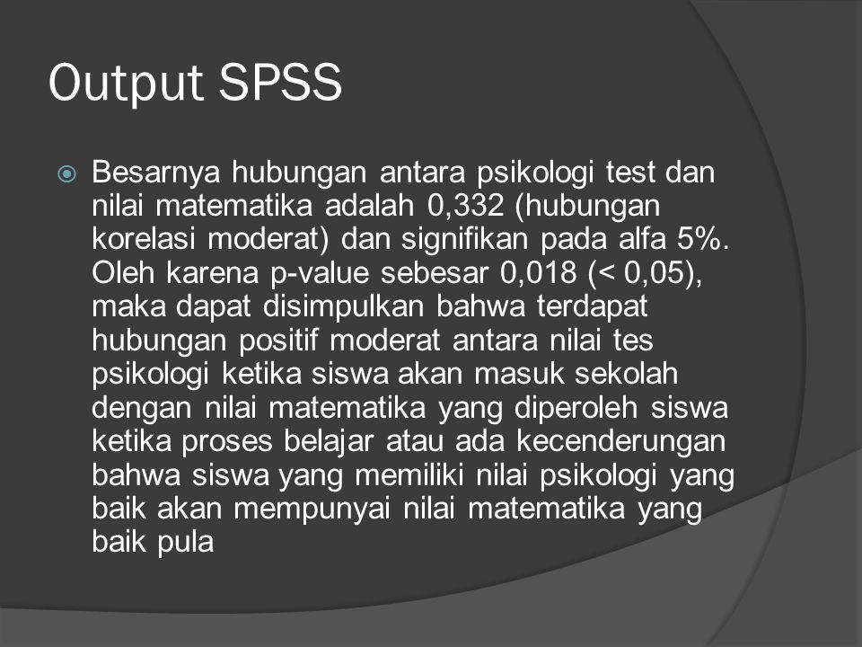 Output SPSS  Besarnya hubungan antara psikologi test dan nilai matematika adalah 0,332 (hubungan korelasi moderat) dan signifikan pada alfa 5%. Oleh