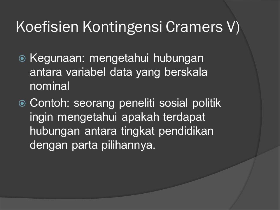 Koefisien Kontingensi Cramers V)  Kegunaan: mengetahui hubungan antara variabel data yang berskala nominal  Contoh: seorang peneliti sosial politik