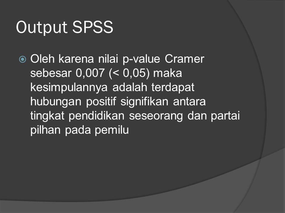 Output SPSS  Oleh karena nilai p-value Cramer sebesar 0,007 (< 0,05) maka kesimpulannya adalah terdapat hubungan positif signifikan antara tingkat pe