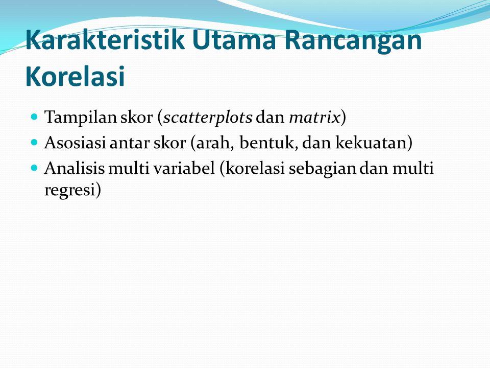 Tampilan skor (scatterplots dan matrix) Asosiasi antar skor (arah, bentuk, dan kekuatan) Analisis multi variabel (korelasi sebagian dan multi regresi) Karakteristik Utama Rancangan Korelasi