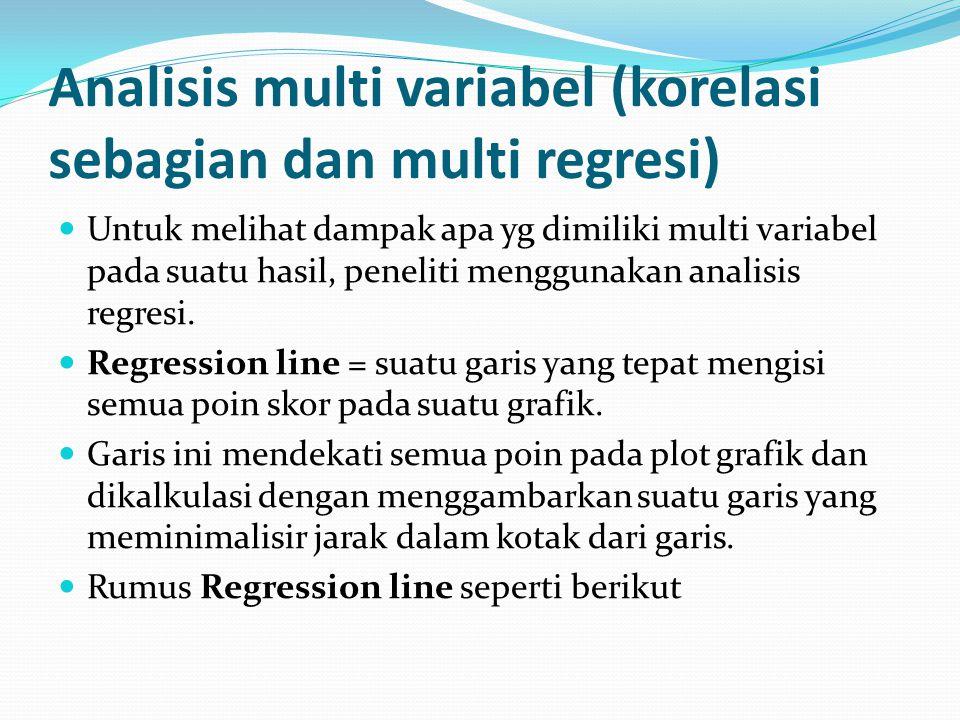 Untuk melihat dampak apa yg dimiliki multi variabel pada suatu hasil, peneliti menggunakan analisis regresi. Regression line = suatu garis yang tepat
