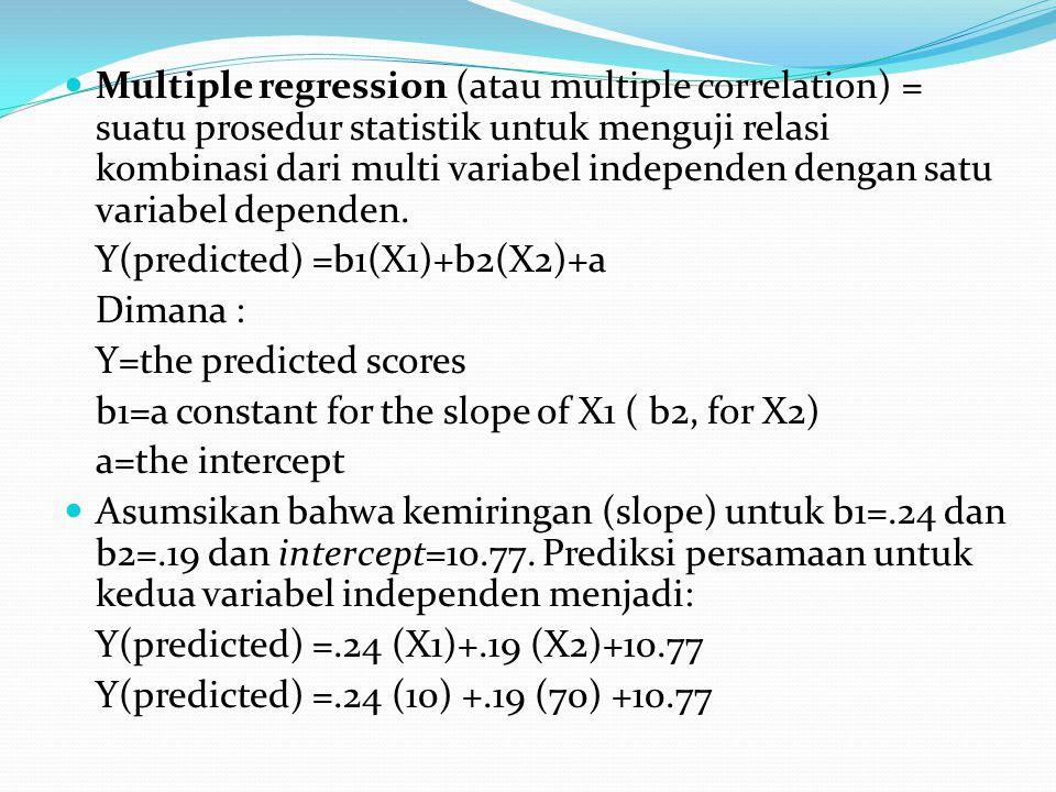 Multiple regression (atau multiple correlation) = suatu prosedur statistik untuk menguji relasi kombinasi dari multi variabel independen dengan satu v