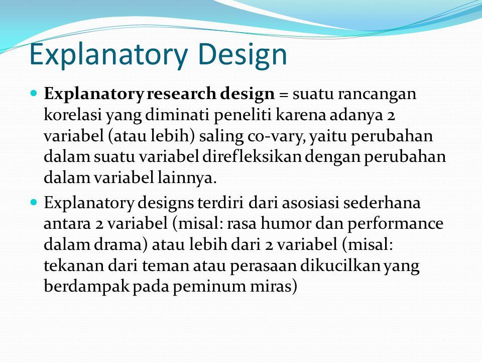 Explanatory Design Explanatory research design = suatu rancangan korelasi yang diminati peneliti karena adanya 2 variabel (atau lebih) saling co-vary, yaitu perubahan dalam suatu variabel direfleksikan dengan perubahan dalam variabel lainnya.