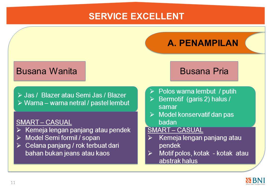 SERVICE EXCELLENT 10 A.PENAMPILAN 4. Tata Busana & Perlengkapannya Image yang ditampilkan Profesional, Simple dan Cekatan