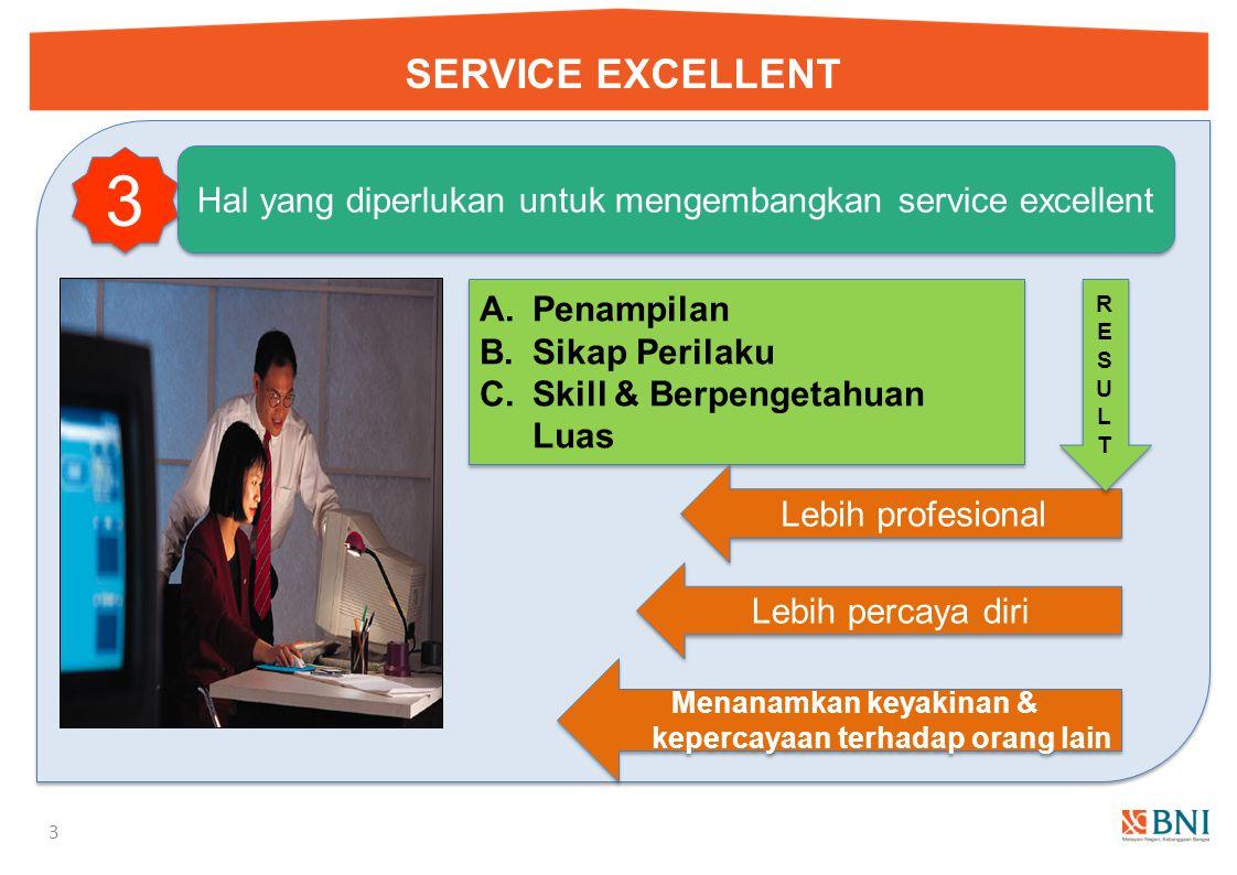 SERVICE EXCELLENT 3 Hal yang diperlukan untuk mengembangkan service excellent 3 3 A.Penampilan B.Sikap Perilaku C.Skill & Berpengetahuan Luas A.Penampilan B.Sikap Perilaku C.Skill & Berpengetahuan Luas Lebih profesional Lebih percaya diri Menanamkan keyakinan & kepercayaan terhadap orang lain RESULTRESULT RESULTRESULT