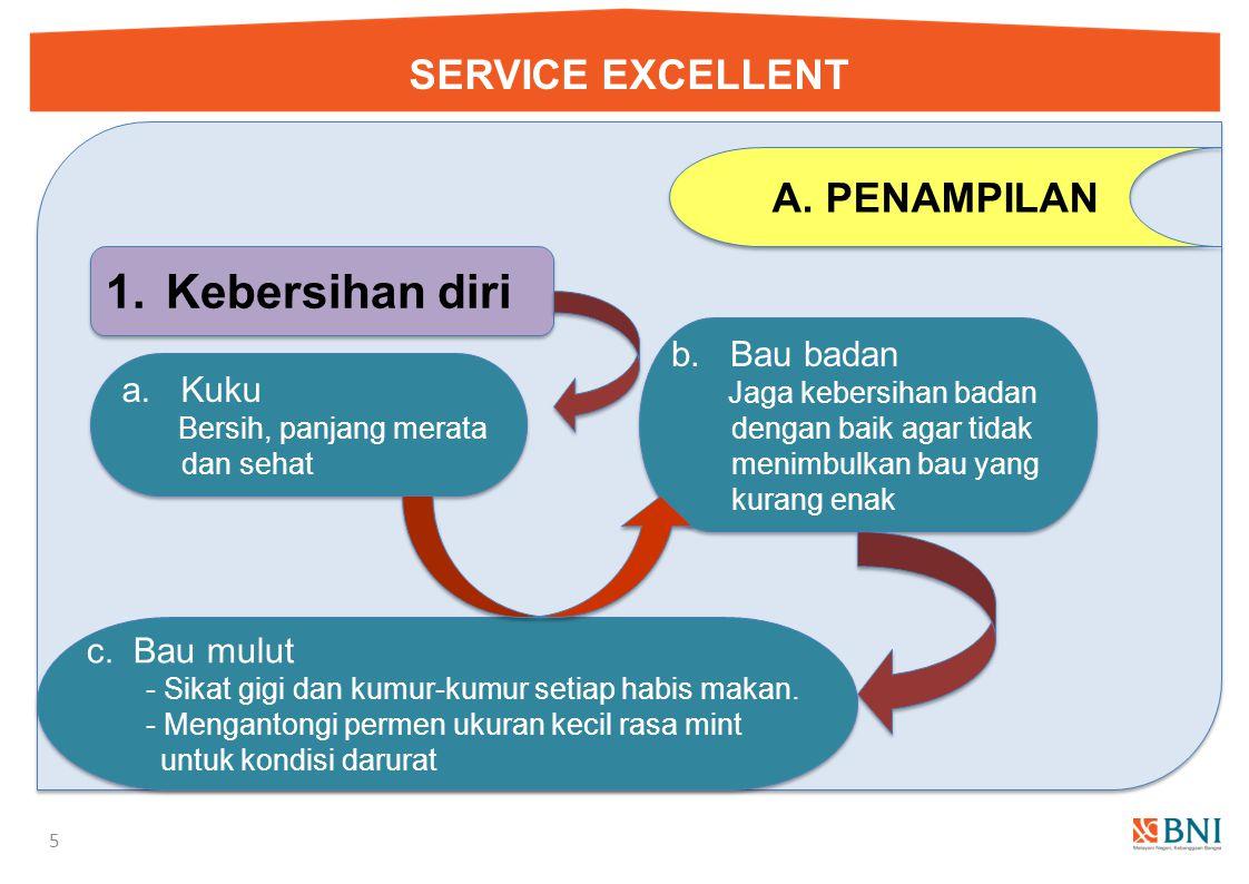SERVICE EXCELLENT 4 A.PENAMPILAN Hal yang perlu diperhatikan adalah : 1.Kebersihan diri 2.Tata rias rambut 3.Tata rias wajah 4.Tata rias busana dan pe