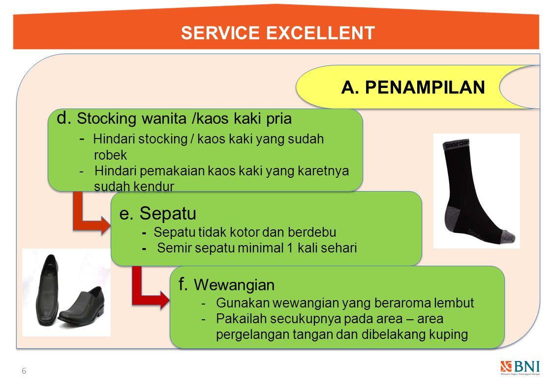 SERVICE EXCELLENT 5 A.PENAMPILAN 1.Kebersihan diri a. Kuku Bersih, panjang merata dan sehat a. Kuku Bersih, panjang merata dan sehat b. Bau badan Jaga