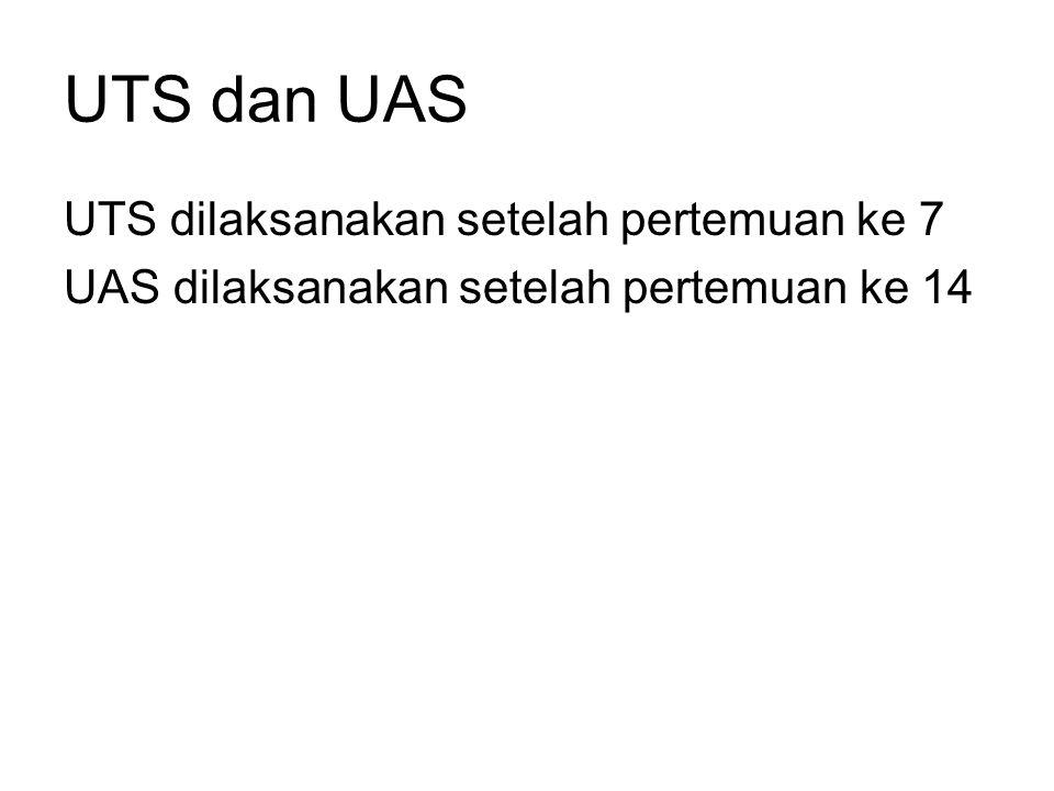 UTS dan UAS UTS dilaksanakan setelah pertemuan ke 7 UAS dilaksanakan setelah pertemuan ke 14