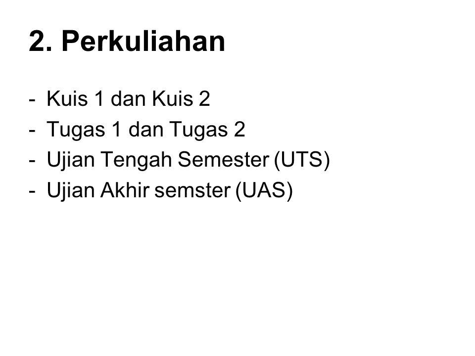 2. Perkuliahan -Kuis 1 dan Kuis 2 -Tugas 1 dan Tugas 2 -Ujian Tengah Semester (UTS) -Ujian Akhir semster (UAS)