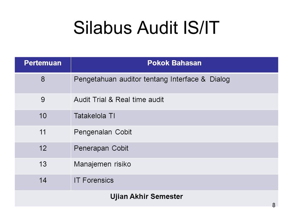 Silabus Audit IS/IT PertemuanPokok Bahasan 8Pengetahuan auditor tentang Interface & Dialog 9Audit Trial & Real time audit 10Tatakelola TI 11Pengenalan Cobit 12Penerapan Cobit 13Manajemen risiko 14IT Forensics Ujian Akhir Semester 8
