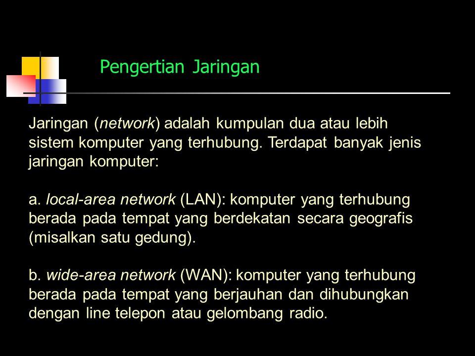 Pengertian Jaringan Jaringan (network) adalah kumpulan dua atau lebih sistem komputer yang terhubung. Terdapat banyak jenis jaringan komputer: a. loca
