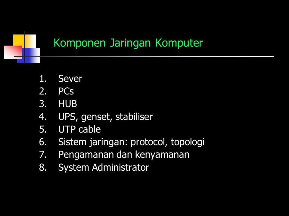 Komponen Jaringan Komputer 1.Sever 2.PCs 3.HUB 4.UPS, genset, stabiliser 5.UTP cable 6.Sistem jaringan: protocol, topologi 7.Pengamanan dan kenyamanan