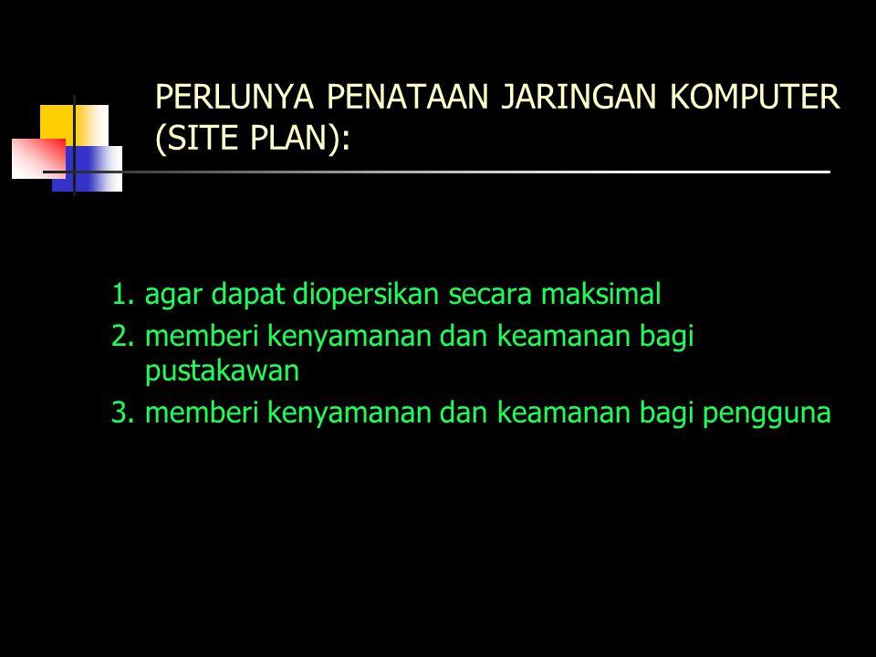 PERLUNYA PENATAAN JARINGAN KOMPUTER (SITE PLAN): 1.agar dapat diopersikan secara maksimal 2.memberi kenyamanan dan keamanan bagi pustakawan 3.memberi