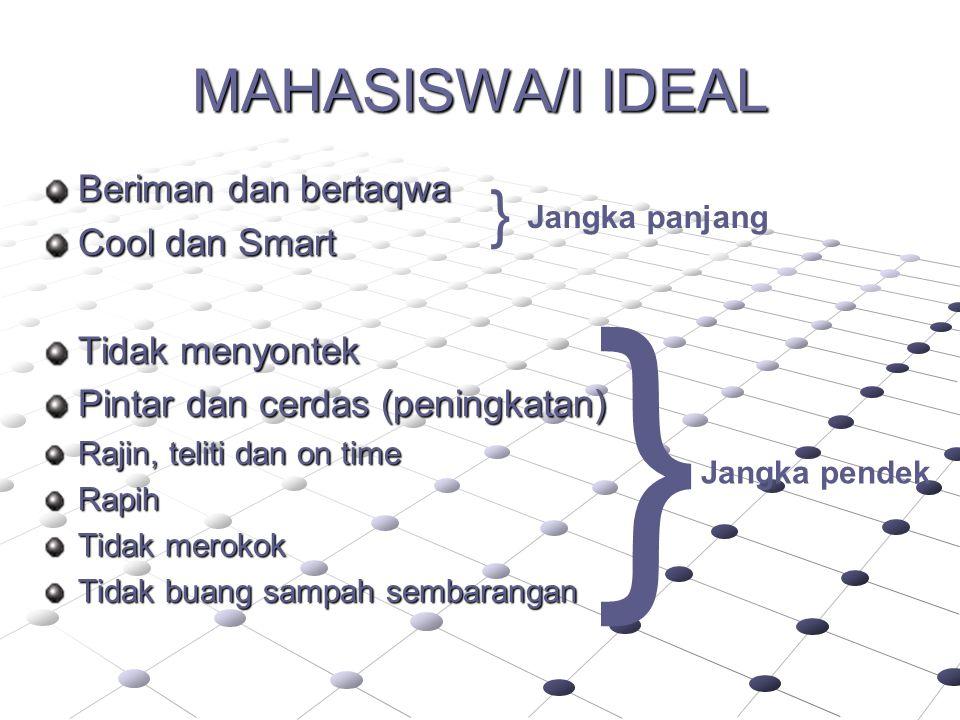 MAHASISWA/I IDEAL Beriman dan bertaqwa Cool dan Smart Tidak menyontek Pintar dan cerdas (peningkatan) Rajin, teliti dan on time Rapih Tidak merokok Ti