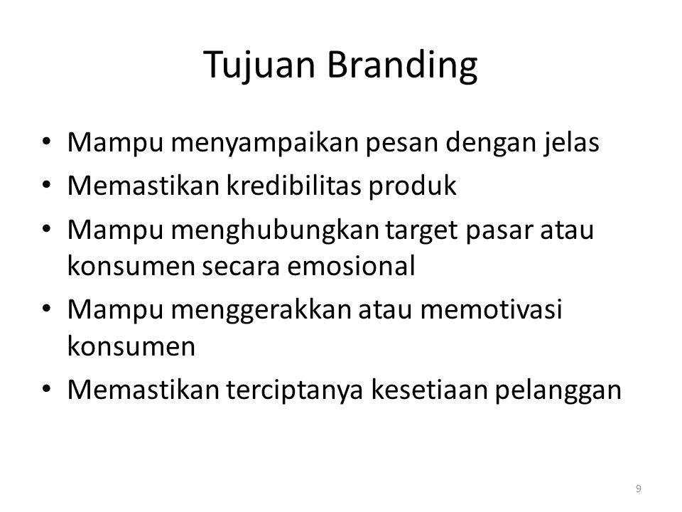 Tujuan Branding Mampu menyampaikan pesan dengan jelas Memastikan kredibilitas produk Mampu menghubungkan target pasar atau konsumen secara emosional M