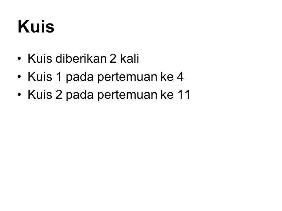 Kuis Kuis diberikan 2 kali Kuis 1 pada pertemuan ke 4 Kuis 2 pada pertemuan ke 11