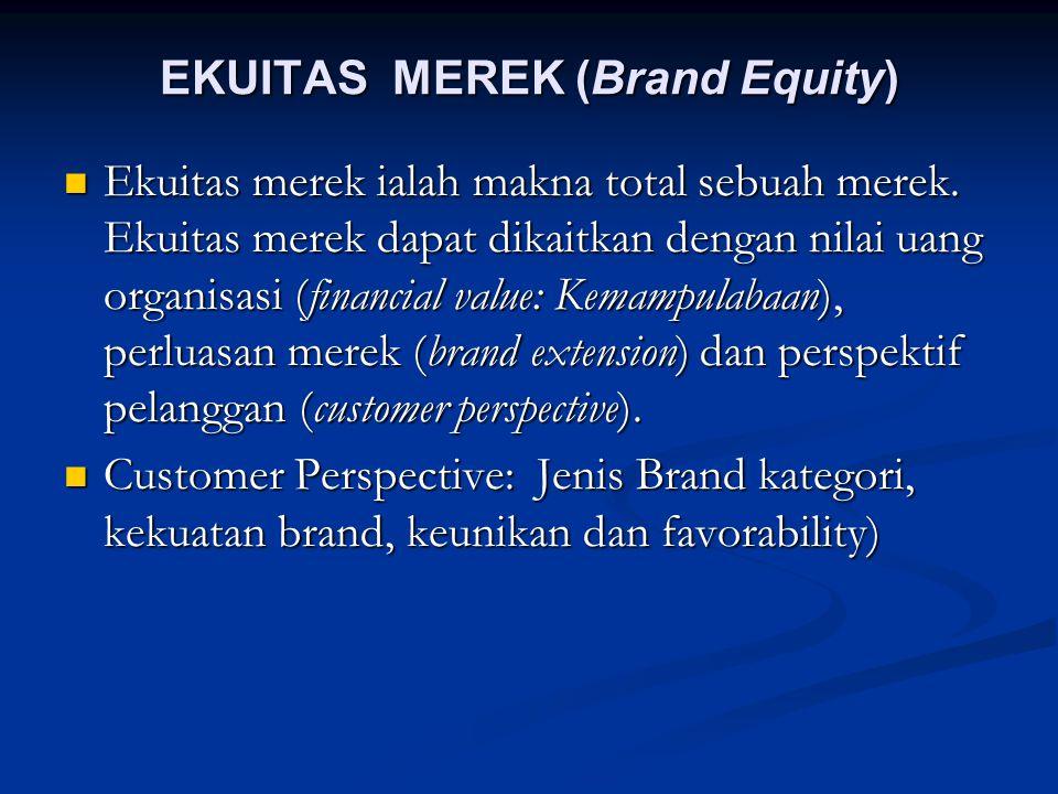 EKUITAS MEREK (Brand Equity) Ekuitas merek ialah makna total sebuah merek. Ekuitas merek dapat dikaitkan dengan nilai uang organisasi (financial value