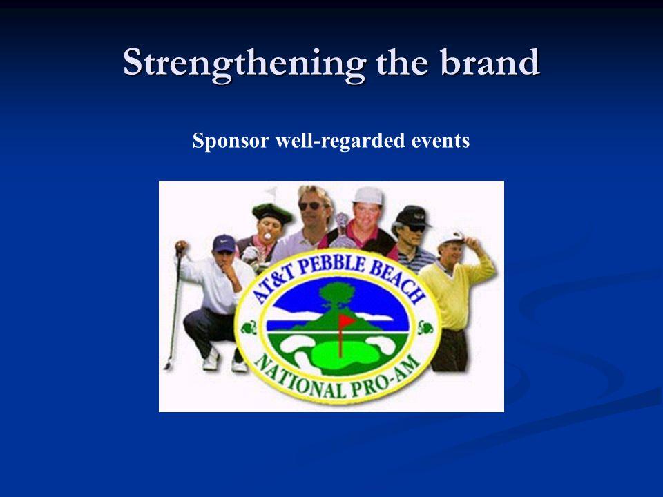 Strengthening the brand Sponsor well-regarded events