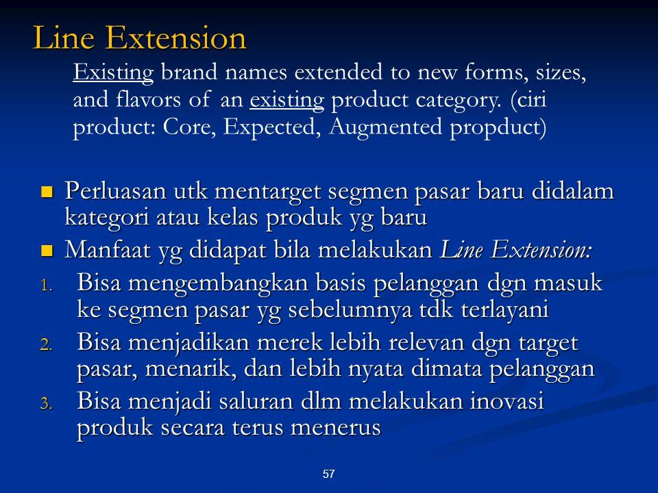 Perluasan utk mentarget segmen pasar baru didalam kategori atau kelas produk yg baru Perluasan utk mentarget segmen pasar baru didalam kategori atau k