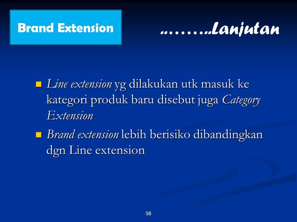 Line extension yg dilakukan utk masuk ke kategori produk baru disebut juga Category Extension Line extension yg dilakukan utk masuk ke kategori produk